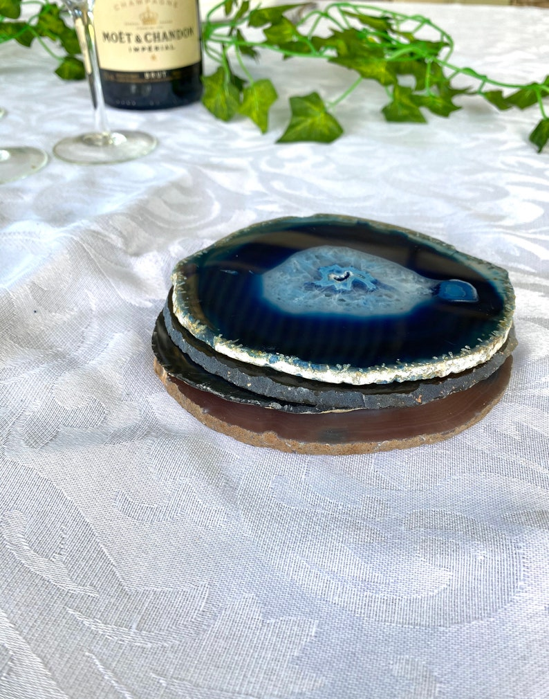 set of 4 Blue polished agate slice drink coasters office decoration or unique gift home decor