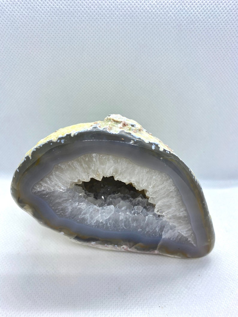 Freestanding Natural Agate Geode with Quartz Crystals in the middle table piece or unique office display