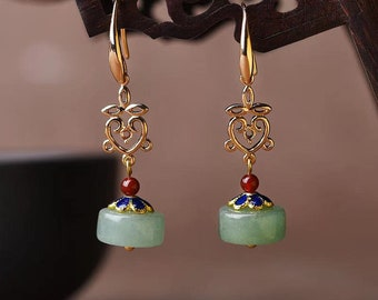 14K Gold Plated Vintage Palace Jade Earrings