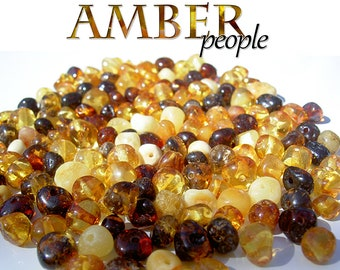 RANDOM COLOURS 20g AMBER BEADS LOOSE Rounded 100/% Authentic Baltic Amber