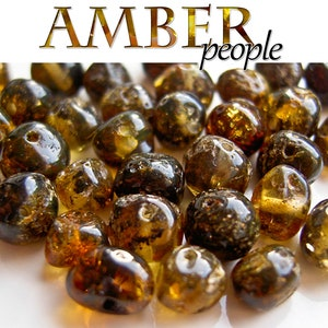 NATURAL ROUND POLISHED BALTIC HOLED AMBER LOOSE BEADS 10 gram 130-170 st
