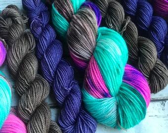 Dragonfly Inn Gilmore Girls sock set yarn  sock fingering Hand dyed yarn Gypsysoulfibers