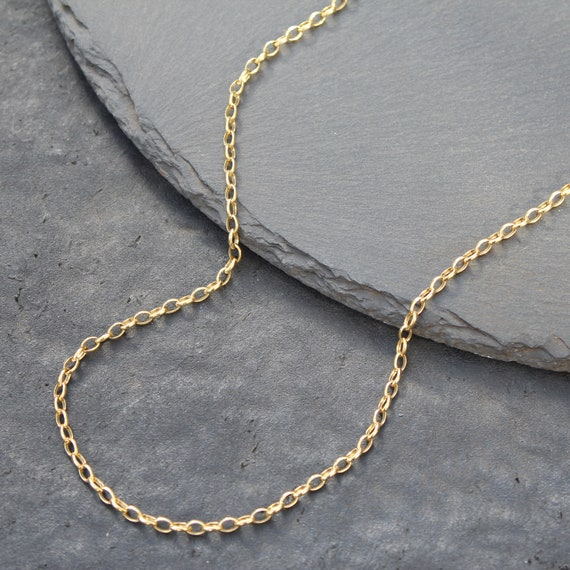 14k Gold Rolo Link Chain Necklace