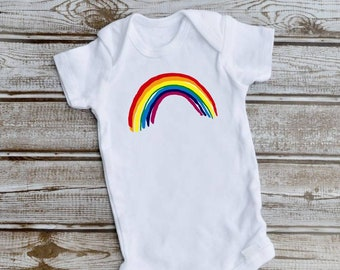 Rainbow Baby Grow Girls Boys Vest Support NHS I Saved The World and Stayed Home
