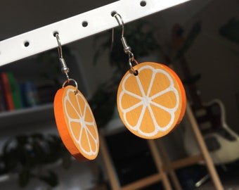 Hand Painted Orange Earrings