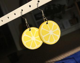 Hand Painted Lemon Earrings