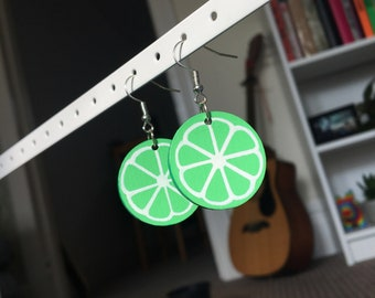 Hand Painted Lime Earrings
