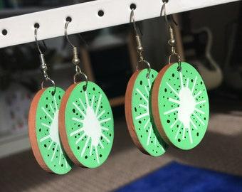 Hand Painted Kiwi Earrings