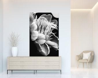 Black and white Peony close-up - Macro art, Modern Minimalist, Printable Wall Art, Digital Download, Nature Photography, Abstract Print