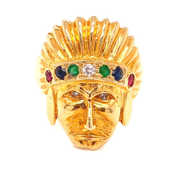 18K Gold Native American Chief Ring