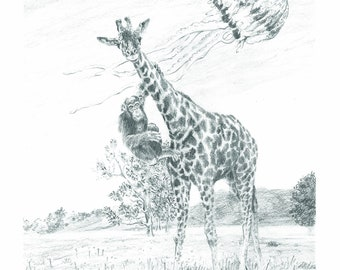 Cahokia - surreal giraffe chimpanzee jellyfish pencil drawing