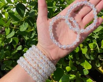 """ONE 8mm 7.5"""" Angel Aura Fire & Ice Quartz Crystal Stretch Bracelet, Cracked Quartz Crystal Stretch Bracelet"""