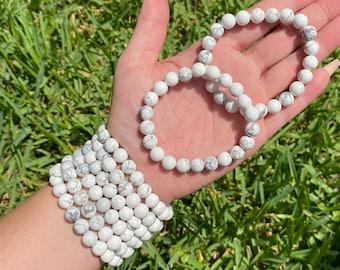 Natural Howlite Bracelet Crystal Healing Gemstone CALM MIND Past Life Nuggets