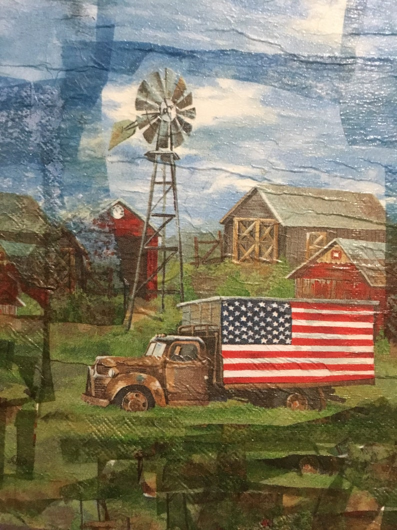 Old Glory Farmhouse Decoupage Art Handcrafted on Wood Plaque
