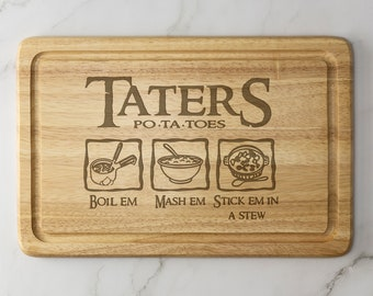 Lord of the Rings Engraved Wooden Chopping Board  Potatoes Taters Cheese Board Serving Board Birthday Christmas