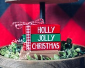 Christmas Tiered Tray Decor, Mini Wooden Book Stack, Hot Cocoa Bar Decor, Gingerbread House, Snowflakes Decor, Winter Decor, Christmas Signs
