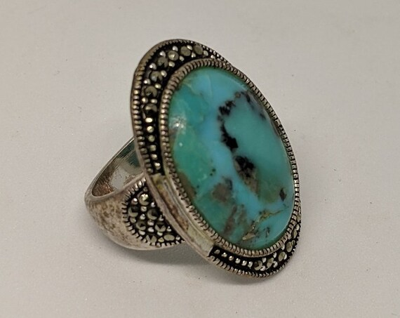 Fancy Turquoise Hammered Sterling Silver Ring Size 7 - Authentic Native American Made Jewelry - Hand Crafted