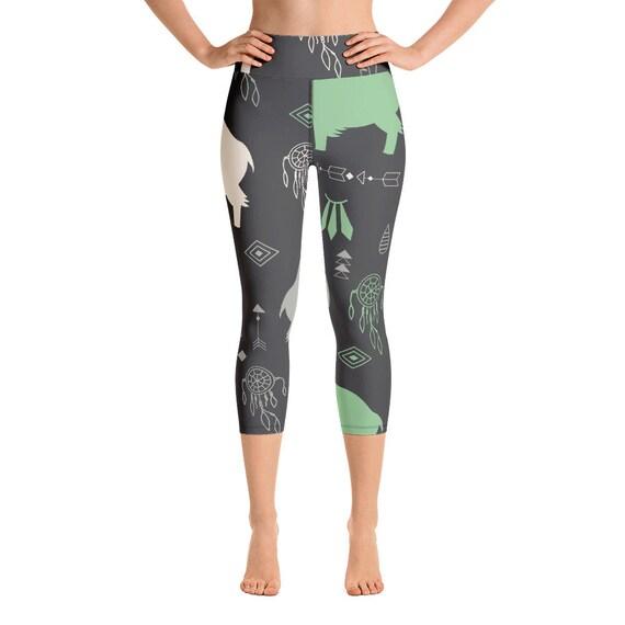 Buffalo Print Yoga Capri Leggings