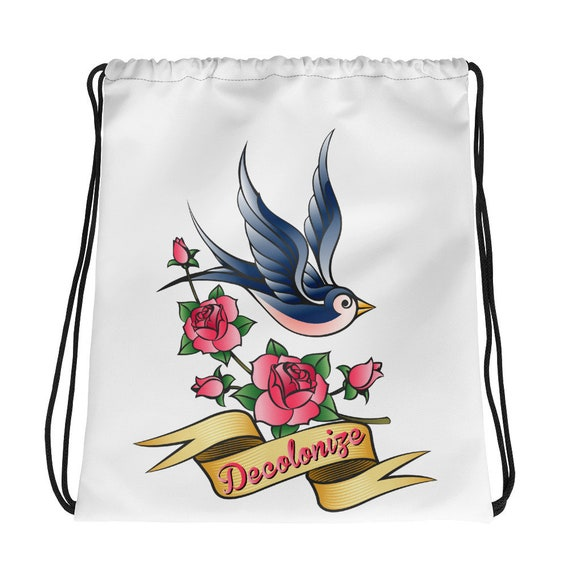 Decolonize - Sailor Jerry Style Swallow Tattoo Drawstring bag