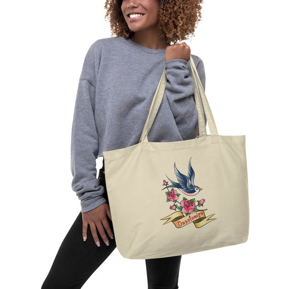 Decolonize - Sailor Jerry Style Swallow Tattoo Large organic tote bag