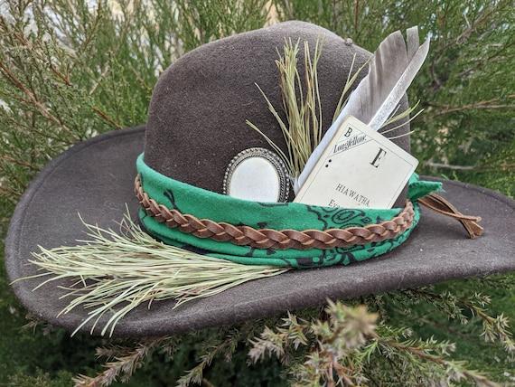 Hiawatha Dawnland Collection - Custom Felted Wool Classic Cowboy Hat Size Medium - One of a Kind