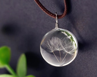 Natural Dandelion Necklace, Birthday Necklace Gift, Necklace Gift, Glass Ball Pendant
