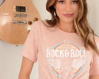 Rock And Roll Love T-shirt Guitars Music Top Ladies Size 10 NWT