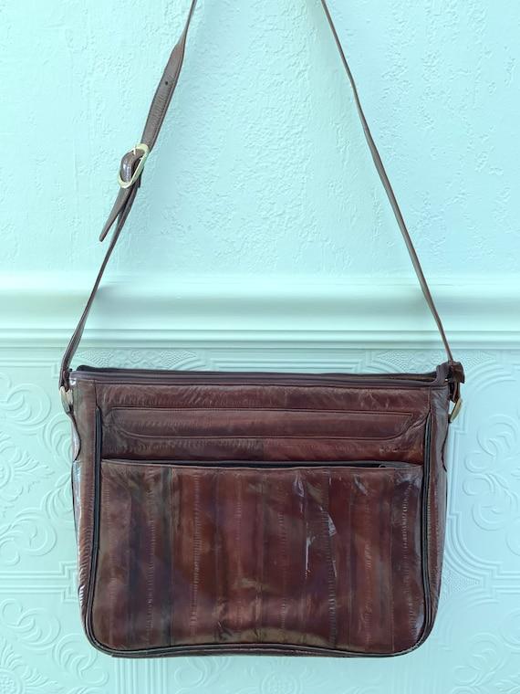 80s eel skin cognac shoulder bag - image 4