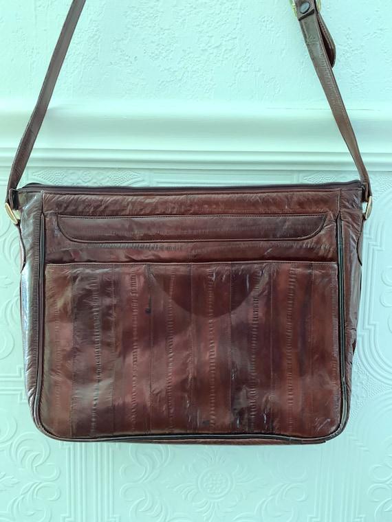 80s eel skin cognac shoulder bag - image 1
