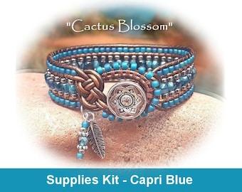 "Supplies Kit (Tutorial Sold Separately)-""Cactus Blossom"" Bracelet Kit in Capri Blue (CAP)"