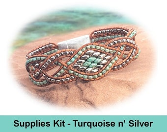 """Supplies Kit (Tutorial Sold Separately)-""""Tangled Vines"""" Light Brown Beaded Leather Bracelet Kit-Magnetic Clasp-Picasso Turquoise (PTG-LT)"""