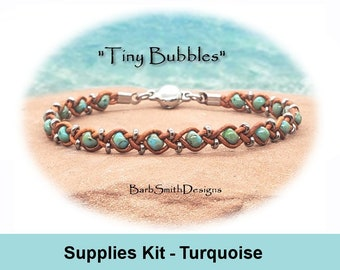 """Supplies Kit (Tutorial Sold Separately)-""""Tiny Bubbles"""" Bracelet Kit in Picasso Turquoise (PTG)"""