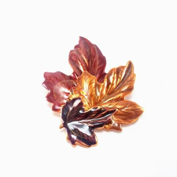 Vintage Jewelry Vintage Silver Enamel Maple Leaf Brooch Metallic Blue Green Enamel Leaves Large Leaf Brooch Dimensional Statement Brooch