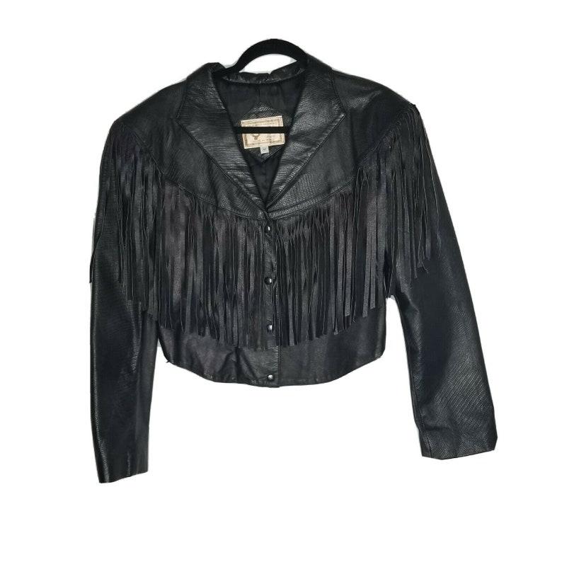 Vintage El Venado Women/'s Western Cropped Jacket wFringe SZ M Genuine Leather