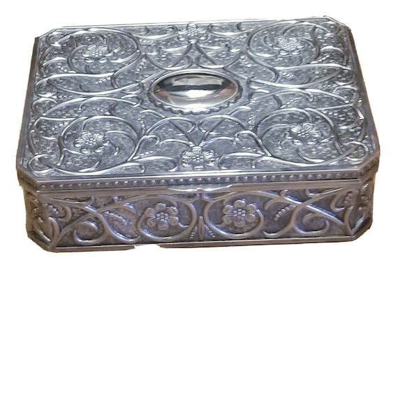 Vintage Ornate Silver Toned Jewelry Box With Mirror and Red Velvet Interior