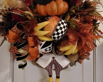 Fall turkey wreath, Autumn turkey wreath, Fall pumpkin wreath, Feathers wreath, Turkey wreath, Mark Roberts pumpkin wreath, Fall decor, Fron