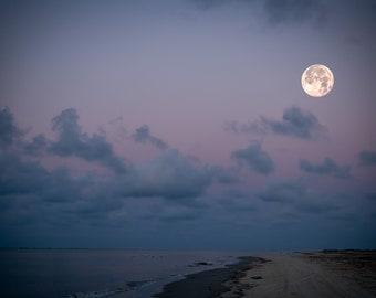 Moon Over Shoreline/Coastline