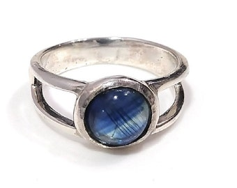 blue gemstone ring Reiki jewelry uk UK SIZE N 925 sterling silver rings for women March birthstone Celtic knot Kyanite ring