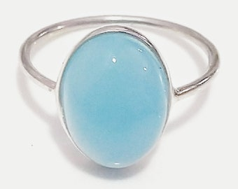 trendy designs for her Blue Chalcedony ring birthstone ring birthday gifts for her gold ring cobalt blue gemstone Round chalcedony ring