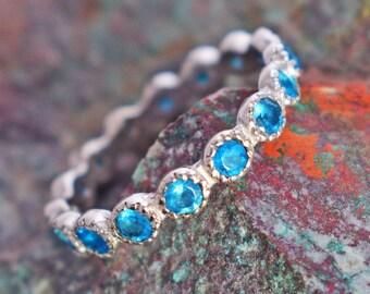AAA Apatite Bracelet 2mm Neon Faceted Blue Gemstone Delicate Bracelet Dainty Minimalist Bracelet Fine Apatite Sterling Silver Bracelet Gift