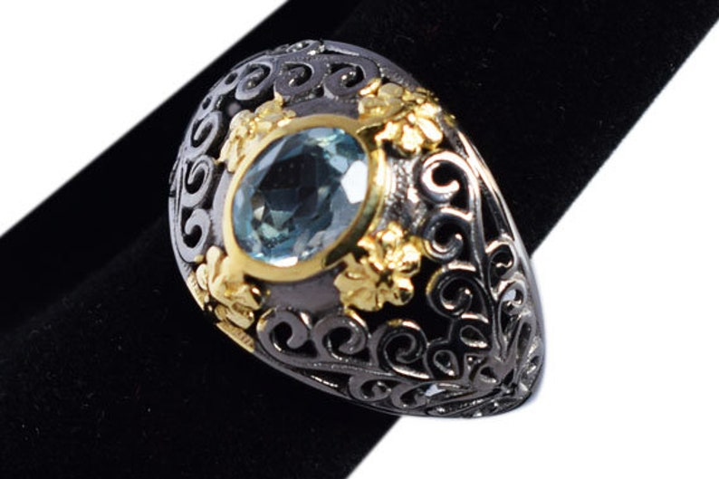 Promise Ring Natural Blue Topaz Ring December Birthstone Oval Blue Topaz Designer Band Ring Gift for her 371 925 Sterling Silver Ring