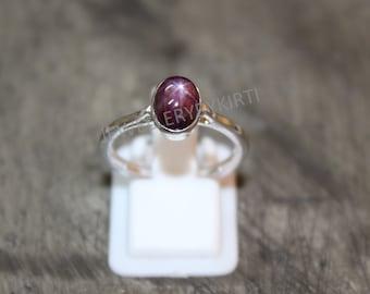 Size 9 Round Bezel Set Indian Star Ruby Ring
