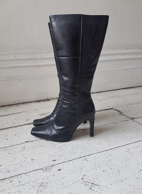 90'S Black Leather Boots / block heels / 90s / squ