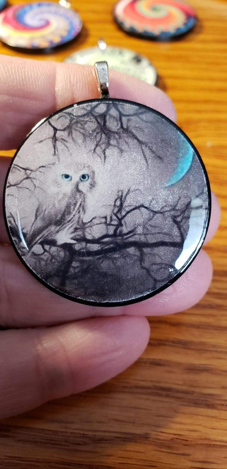 Lucky Chip Birthday Gift Blue Moon Owl Necklace- Mother/'s Day Gift Beautiful Grey Owl Gift Idea Blue Eyes Pendent