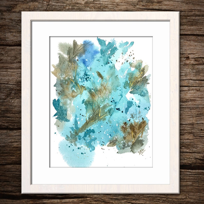 TEAL ABSTRACT LEAVES Print #1 Watercolor Traditional Art Watercolor Giclee Printing
