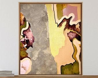 Wabi Sabi art - Raw texture - Framed original art - Original Fine art painting - Medium size abstract on canvas - Living room wall decor -