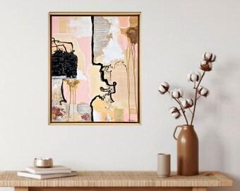 Framed original art - Bright abstract - Mixed media on canvas - Fine art for living room - Texture art