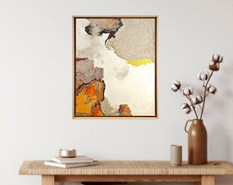 Framed Original artwork - Mixed media abstract on stretched canvas - Texture art - Wabi-Sabi art,