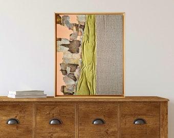 Original painting - Bright artwork - Framed original art - Texture abstract on strecthed canvas - -Wabi-Sabi art