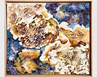 Framed original art - Mixed media abstract on canvas - Texture painting - Gallery wall - Bright horizontal medium size artwork